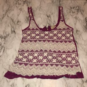 Purple Lace Tank Top with a Half Zip on the Back